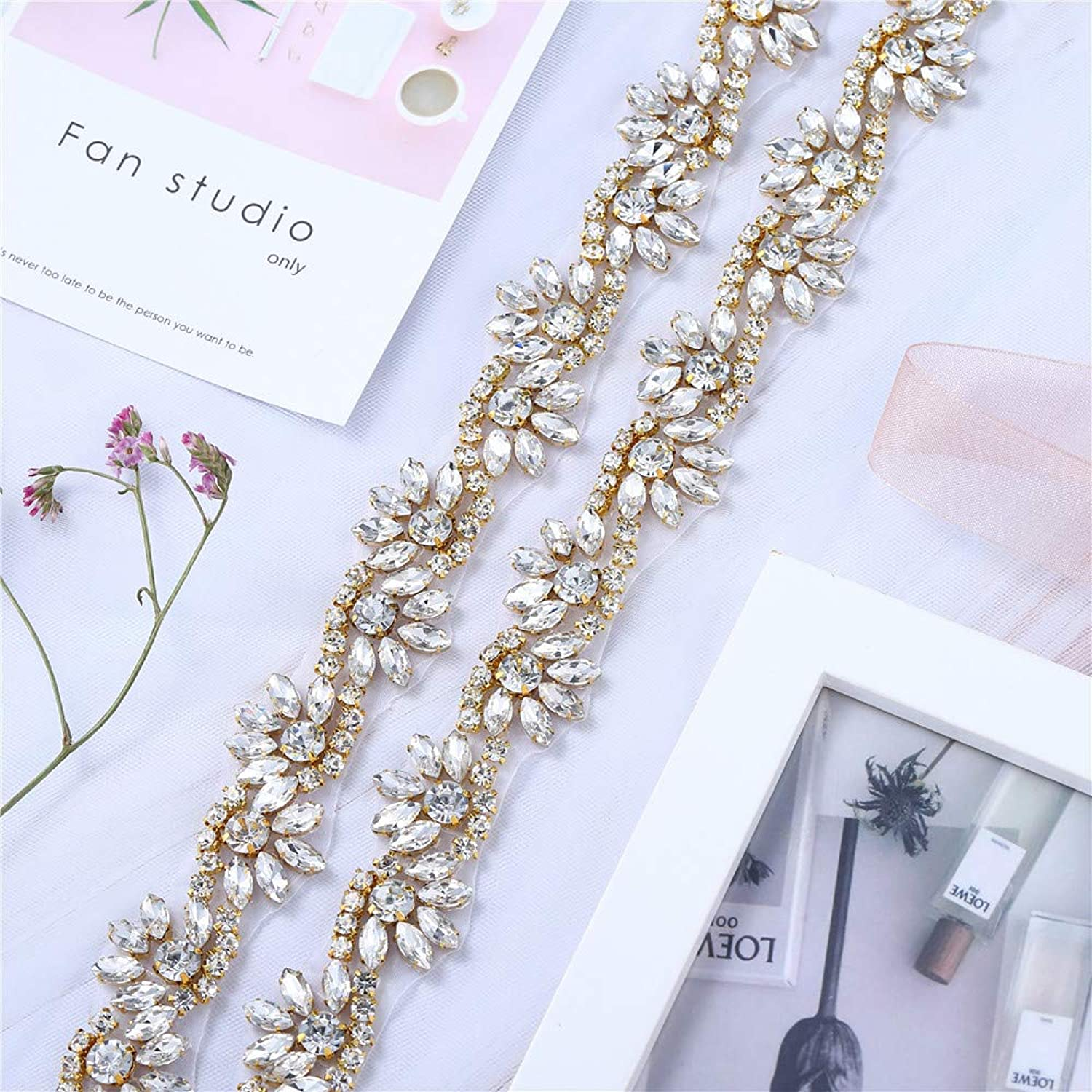 1 Yard Rhinestone Diamante Belt Applique Sew Iron on Crystal Bridal Wedding Dress Sash Beaded Jeweled Patch for Bride Bridesmaid Gown Women Prom Formal Belt Clothes Embellishments (goldFloral)