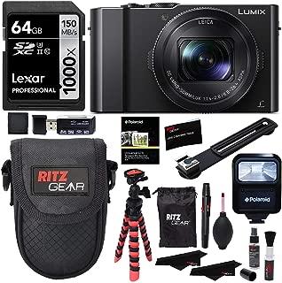 Panasonic LUMIX DMC-LX10K Camera, Lexar 64GB, Memory Card Wallet, Flash, Ritz Gear Tripod, Cleaning Kit, Case and Accessory Bundle