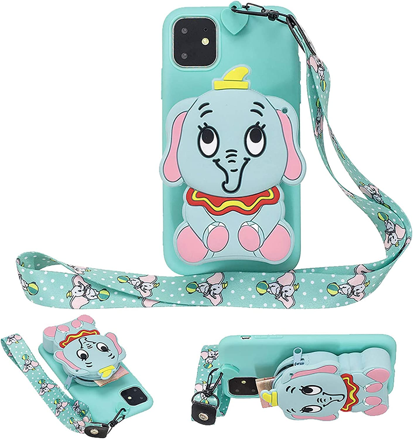Girlyard for iPhone 13 Mini 5.4 Inch Silicone Case with 3D Cartoon Animal Zipper Wallet Purse Stand Holder Back Cover and Long Detachable Lanyard Strap Phone Case for Kids Girls, Blue Elephant