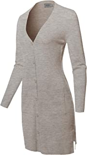 Women's Casual Button Up Long-Line Sweater Viscose Knit Cardigan
