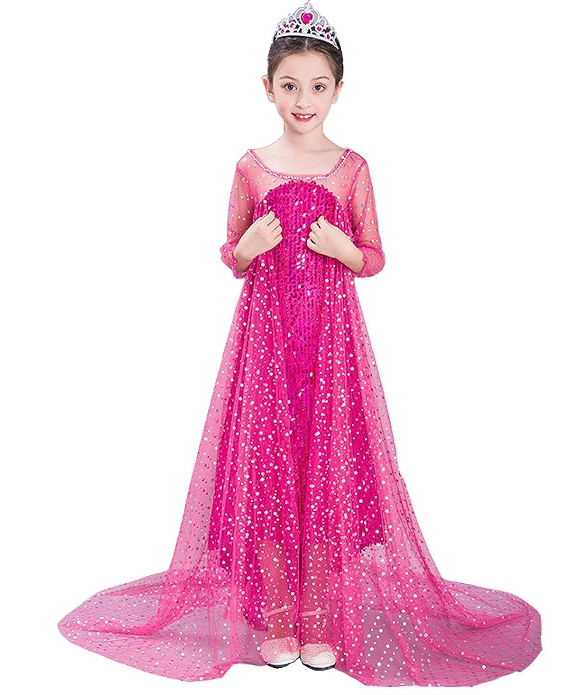 Lisa Pulster ガールズ キッズワンピース プリンセスドレス超人気 夏 演出 女の子 女王 cosplay 雪の王 おしゃれ 旅行 温泉 可愛い 誕生日ドレス ドレスガールドレス