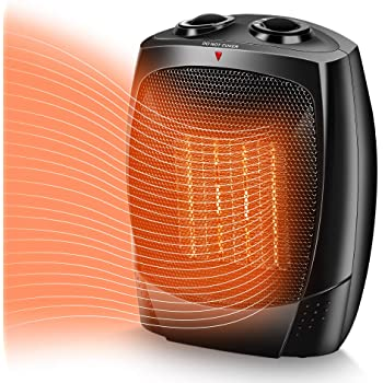 TRUSTECH Space Heater, 1500W Portable Heater, Up to 200sq, 3 Modes Adjustable, Tip-Over and Overheat Protection, Adjustable Thermostat, Fast Heat in 3s, PTC Heating Space heaters for Indoor Use