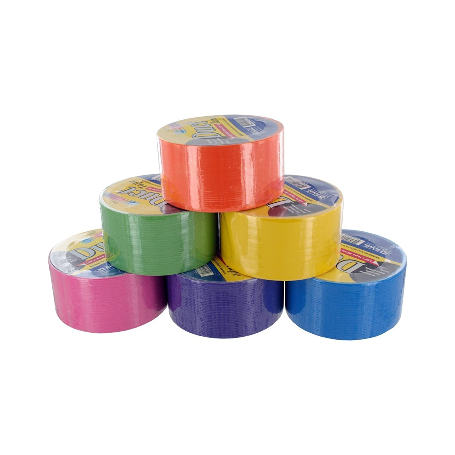 Bazic Fluorescent Colored Duct Tape, Assorted Colors, Pack of 6, 1.89-inch x 10 Yard