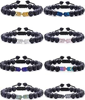 8mm Lava Rock Bead Arrow Diffuser Natural Stone Bracelet Adjustable Yoga Beads Elastic Jewelry Set for Women Men