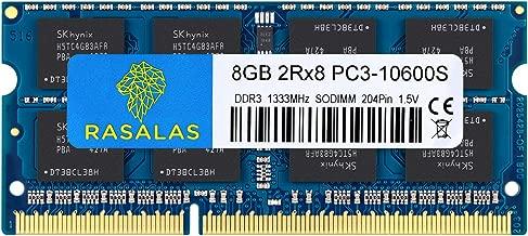 Rasalas 8GB DDR3 PC3 10600S DDR3 1333 MHZ 1.5V CL9 DDR3 Ram 2RX8 PC3 204 Pin DDR3 SODIMM Laptop Notebook Computer Memory Ram Module Chips