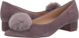 Dusted Plum Kid Suede/Faux Fur Pom Poms