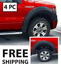 Premium Fender Flares for 2009-2014 Ford F-150 Styleside Models | Smooth Matte Black Paintable Pocket Bolt-Riveted Style 4pc