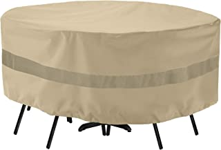 SunPatio Outdoor Table and Chair Cover, Waterproof Round Patio Furniture Set Cover with Sealed Seam, Heavy Duty Dining Table Set Cover 72
