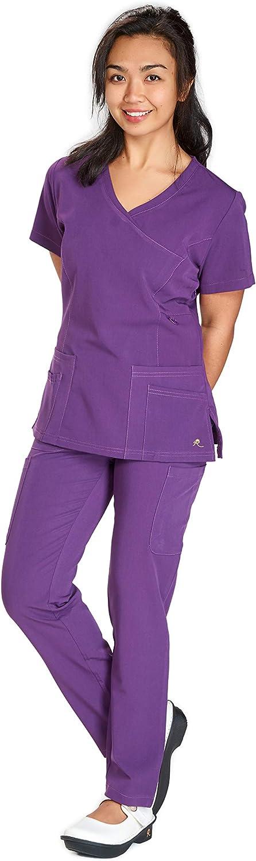 ST102 ReinaFlex Fitted VNeck Mock wrap top 2 Way Stretch Fabric w Side Seam ZipClosure & Slim Pants Scrub Set