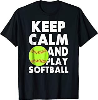 Keep Calm and Play Softball Fastpitch Player Graphic T-Shirt