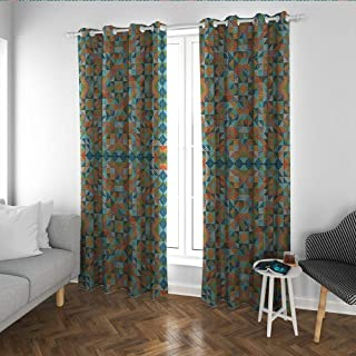 Linhomedecor Country Noise Bedroom Curtains Quilt Patchwork Texture with Gingham Waves Squares Triangles Retro Rural Pattern Thermal Insulated Blackout Curtains Multicolor