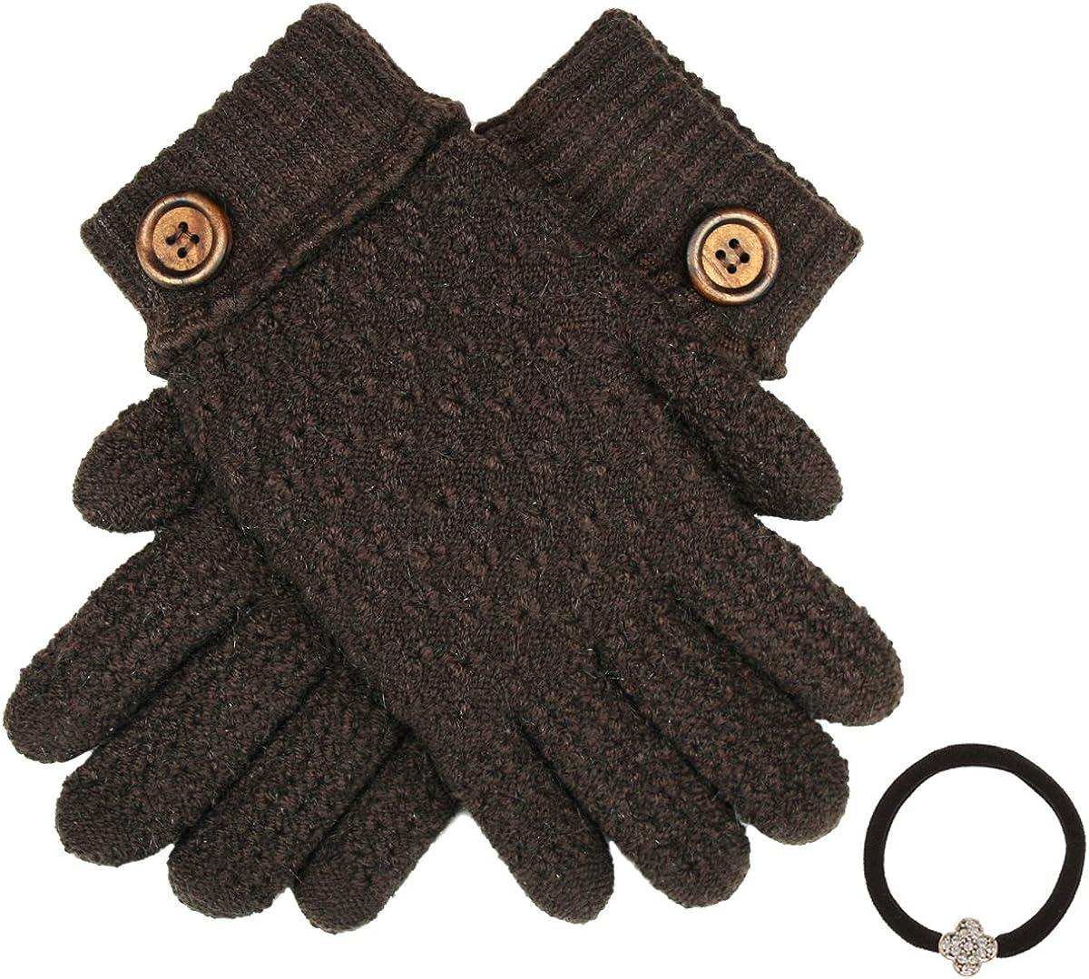 Women's Winter Premium Soft Knit Warm Faux Fur Lining Gloves with Hair Tie