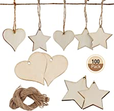 UTOPER 100pcs Wooden Love Heats & Stars Slices Blank Name Tags with Hole Love Heart Star Unfinished Wood Cutout Labels Art Craft Pieces for Wedding Party Christmas DIY Projects Card Making