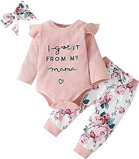 Zestaw ubrań dla noworodka dziewczynki, litery, haft, długie rękawy, marszczone śpioszki kwiatowe spodnie i opaska na czoł...