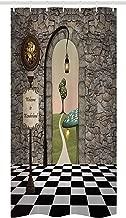 JOOCAR Alice in Wonderland Stall Shower Curtain, Welcome Wonderland Black and White Floor Landscape Mushroom Lantern, Fabric Bathroom Decor Set with Hooks Black Green