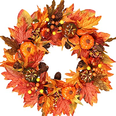 wonuu Fall Wreaths for Front Door 22 Inch Home Wall Decor Handcrafted Boxwood Base for Halloween Thanksgiving Day Autumn