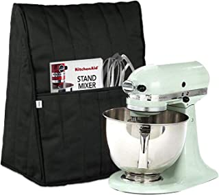 Homai Stand Mixer Cover for 4.5/5/6/7 Quart KitchenAid Mixer, Cloth Dust Cover with Pocket for Extra Attachments (Black)
