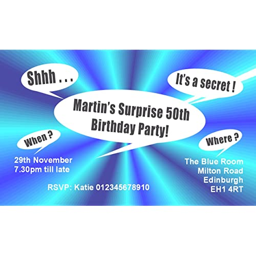 40 MAGNETIC SURPRISE PARTY INVITATIONS Personalised Birthday Invitations For 18th 21st 30th 40th 50th 60th