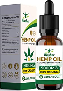 Premium Hemp Oil Drops 5000 mg | Pure Organic | Natural Sleep Aid | for Pain Relief, Anxiety and Stress | Vegan Friendly | 100% Natural Ingredients Rich in Omega 3-6-9 & Vitamins | Gluten Free