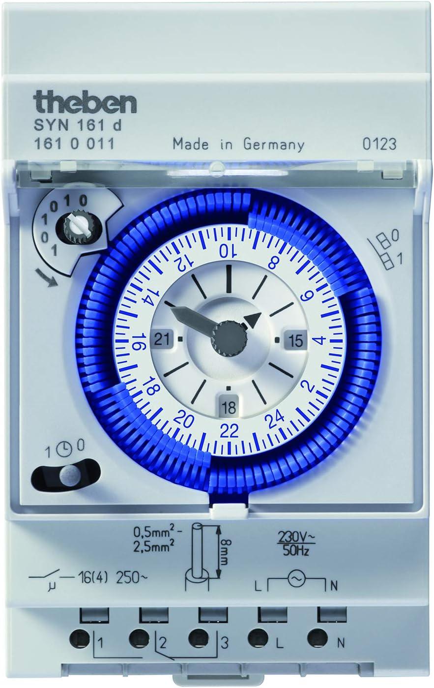 Theben 1610011 - Syn 161 d - Interruptor horario analógico - 1 Canal - Programa Diario - Carril DIN