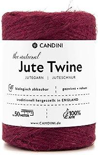 Candini Jutegarn - rot bordeaux, 50m Bastelschnur - ø 2-3mm reine Jute - Schnur Kordel | Premium Qualität - Made in England - Paketschnur, Dekoration, Garten, Verpackung