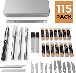 Nicpro 115 PCS Exacto Knife Set 3 Hobby Art Knife with 110 Various Size Blades,Rule and 9mm Utility Knife for Art Carving Craft Office