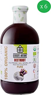 Georgia's Natural100% Organic Cold Pressed Beetroot Juice, 1000 mlx 6