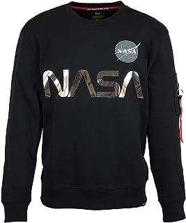 ALPHA INDUSTRIES Men's NASA Reflective Sweatshirt, Black