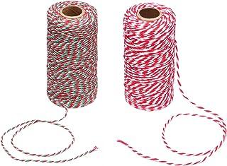 Maosifang 2 Stuks Kerst Snoep Bakkers Touw 2 mm Katoen String voor Geschenkverpakking, Kunst Ambachten 656 Voeten