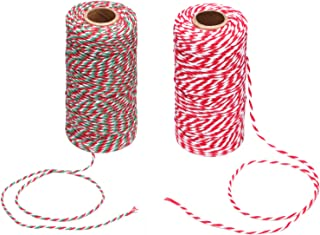 Maosifang Christmas Bakers Candy Rope Ribbon Twine 2 mm Cotton Rope Cord String for Gift Wrapping Arts Crafts 656 Feet,2 Pieces