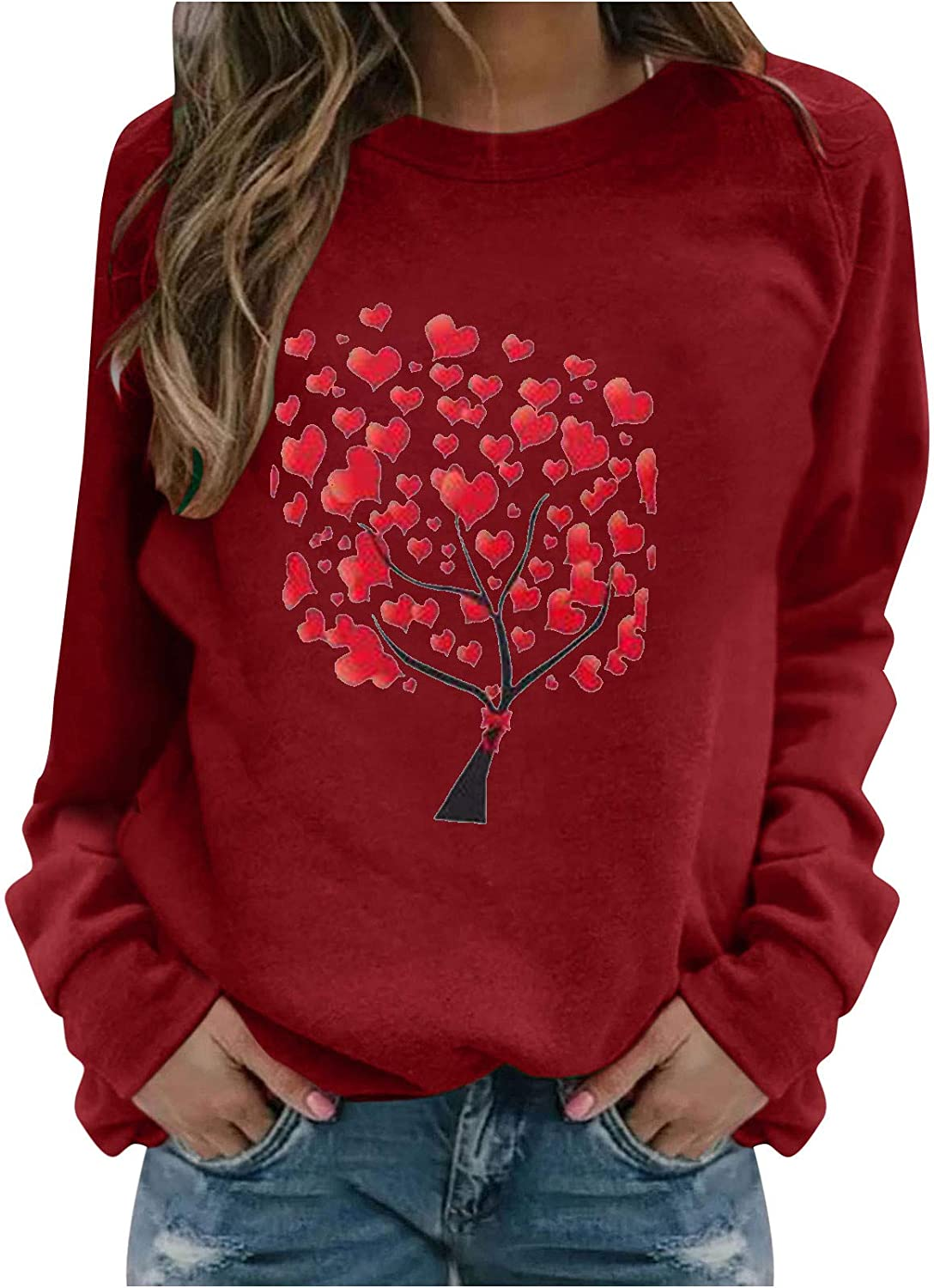 Hotkey Valentines Day Womens Sweatshirt Love Tree Printed Heart Graphic Tops Crewneck Long Sleeve Pullover Jumper Blouse