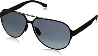 Men's B0669S Aviator Sunglasses, Matte Black Carbon & Gray Gradient, 63 mm
