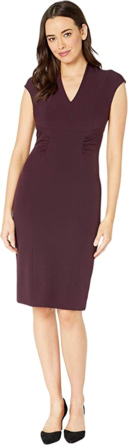 Cap Sleeve Stretch Crepe Sheath Dress with Side Ruching
