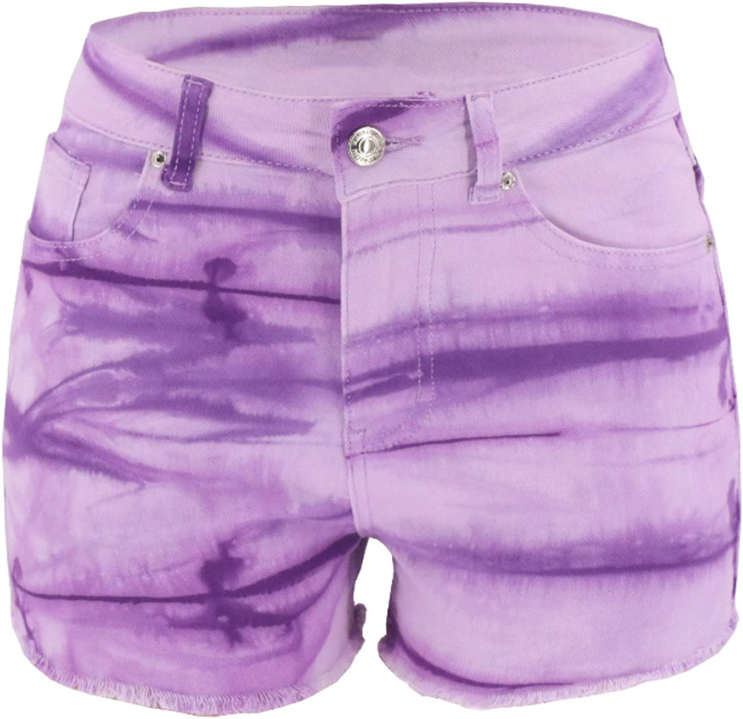 Denim Shorts for Women Frayed Distressed Jean Short Cute Mid Rise Ripped Hot Shorts Slim Tie-dye Comfy Stretchy Denim Jeans