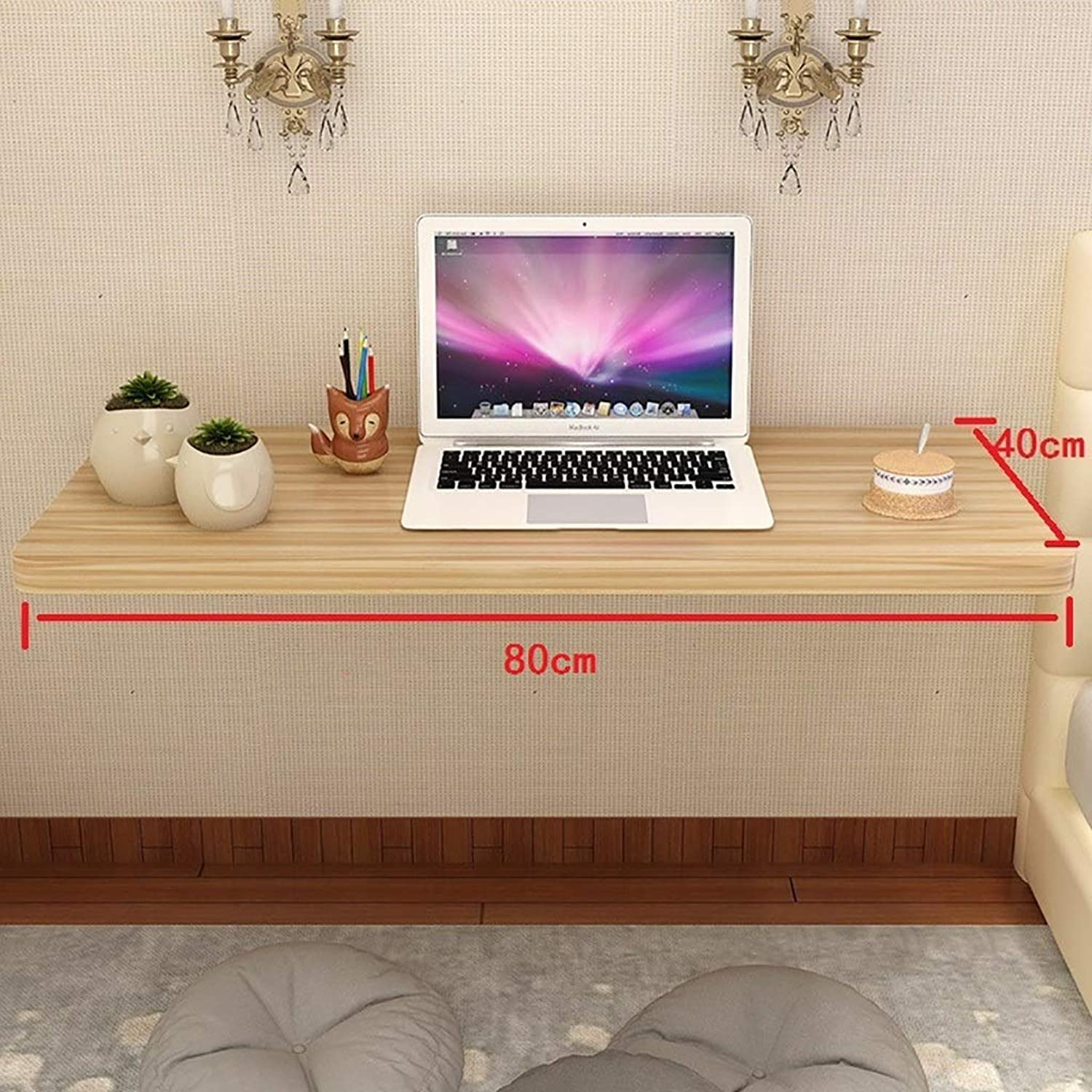 Wall-Mounted Table Folding Table Solid Wood Computer Desk Wall-Mounted Simple Wall Bed Bedroom Desk (color   A, Size   80  40cm)