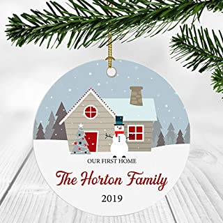 PinkSoft First Christmas in Our New Home 2019 Ornament Our First Home The Horton Family Newlywed Couple Gift Ideas New Home Decoration Ornaments 3 Inches Ceramic