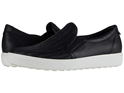 ECCO Soft 7 Woven Slip-On II (Black Cow Leather) Women