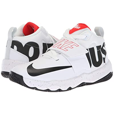 Nike Kids Team Hustle D8 Just Do It (Big Kid) (White/Black/Light Crimson/Wolf Grey) Boys Shoes