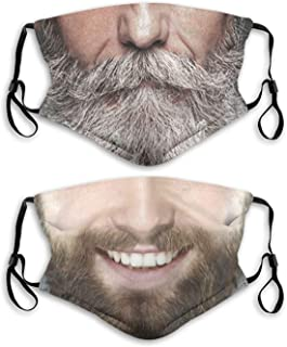 2Pcs Face Mask With Filter Pocket Washable Face Bandanas Balaclava Reusable Fabric Masks For Men Women