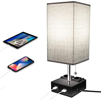 ENCOFT Lampada da comodino USB moderna lampada da tavolo USB rotonda Aooshine lampada da comodino USB con paralume in tessuto grigio lampada da