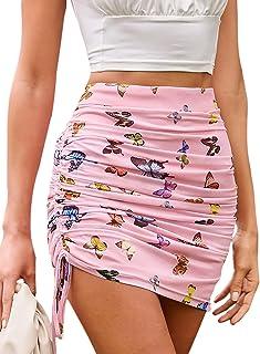 Floerns Women's Ruched Drawstring Side High Waist Satin Bodycon Short Skirt