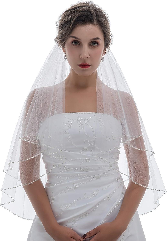 SAMKY 2T 2 Tier Pearl Crystal Beaded Bridal Wedding Veil