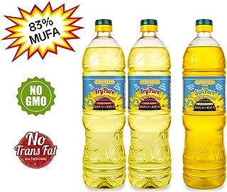 SUNVELLA Non-GMO High Oleic Sunflower Oil Variety Pack/Pressed-Refined + Pressed-Unrefined (2 x 33.8 FL OZ FryPure + 33.8 FL OZ SunPure)
