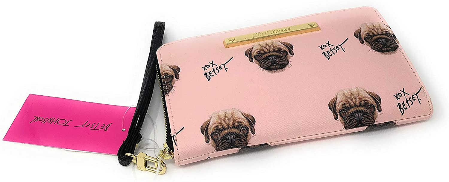 Betsey Johnson Pink Pug Dog Wristlet Wallet   8 X 5 in