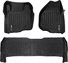 MAXLINER Floor Mats 2 Row Liner Set Black for 2011-2012 Ford F-250 / F-350 / F-450 / F-550 Super Duty Crew Cab with Depressed Drivers Side Pedal