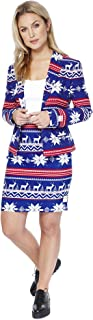 OppoSuits Christmas Suits for Women in Different Prints - Ugly Xmas Sweater Costumes Include Blazer and Skirt