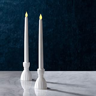 Taper Candle Holder Set - Short White Candlestick Holders, 3.5 Inch Height, Made of Glass, Fits Standard 3/4 Inch Tapered Candles, Farmhouse Kitchen Decor, Christmas Table Decorations - Set of 2