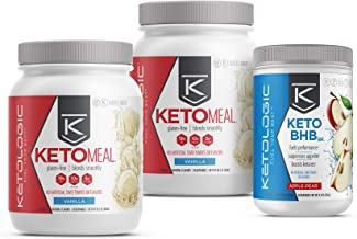 KetoLogic Keto 30 Challenge Bundle, 30-Day Supply   Includes 2 Meal Replacement Shakes with MCT [Vanilla] & 1 BHB Salt [Apple-Pear]   Suppresses Appetite, Promotes Weight Loss & Increases Energy