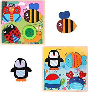 GEMEM Wooden Puzzles for Toddlers, Animal Jigsaw Puzzle for 2, 3 Years Old Toddler Boys and Girls, Toddlers Educational Shapes Learning Toys (Set of 2)