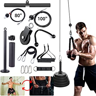 Upgraded 15 Packs LAT and Lift Pulley System Fitness Equipment Forearm Wrist Roller Trainer with 2 Rope Loading Pin and 3 ...